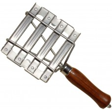 Metal Curry Comb With Wooden Handle